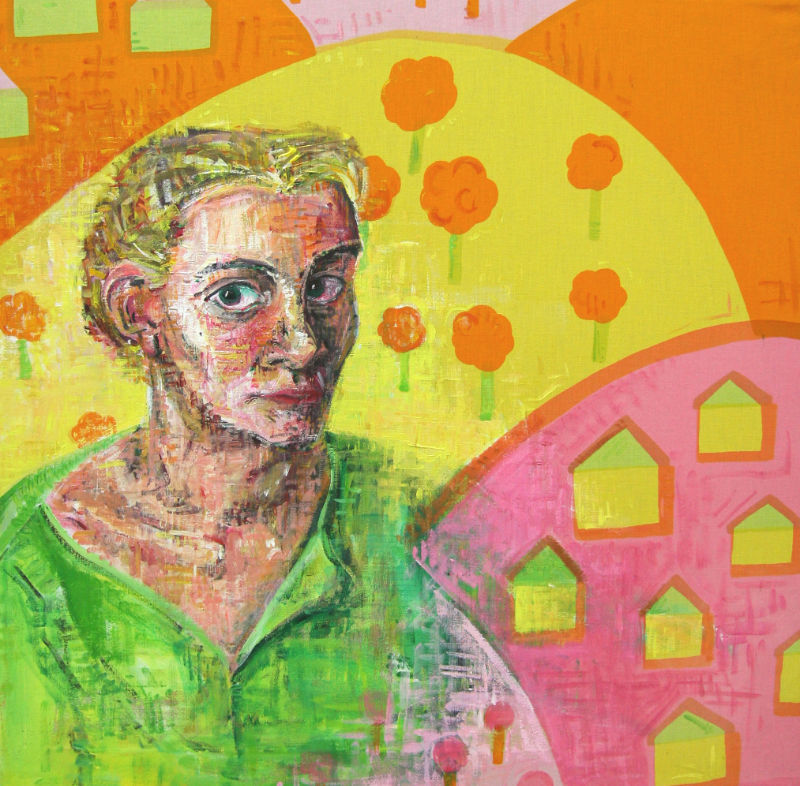 self-portrait of an artist painted on colorfully printed fabric