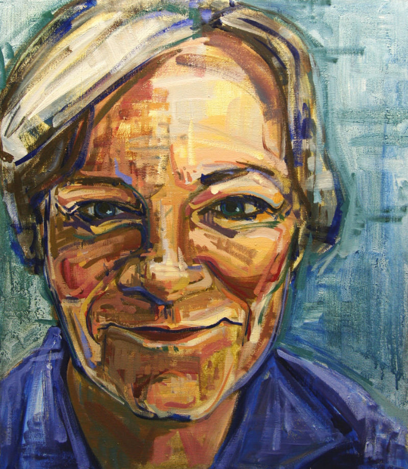 painted portrait of a smiling woman with short grey hair