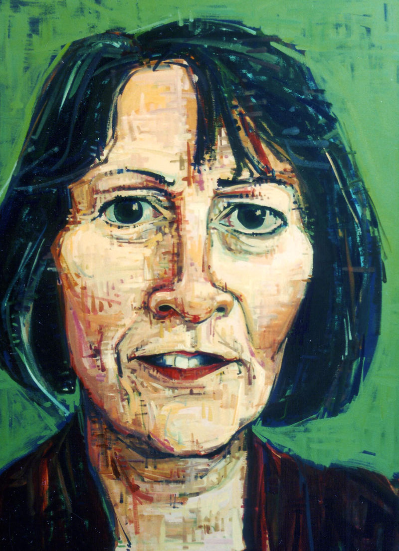 painted portrait of a white woman with dark hair