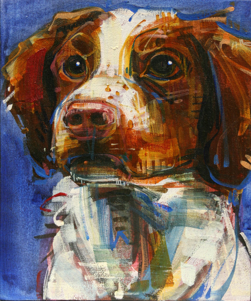 painted portrait of dear doggy