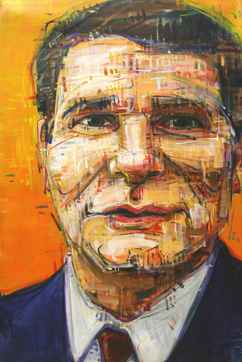 painted portrait of a television news anchor