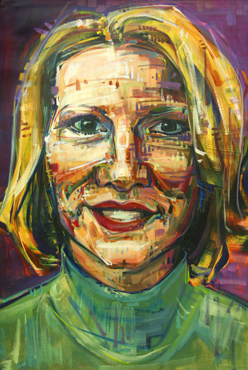 painted portrait of a news anchor, a blond woman