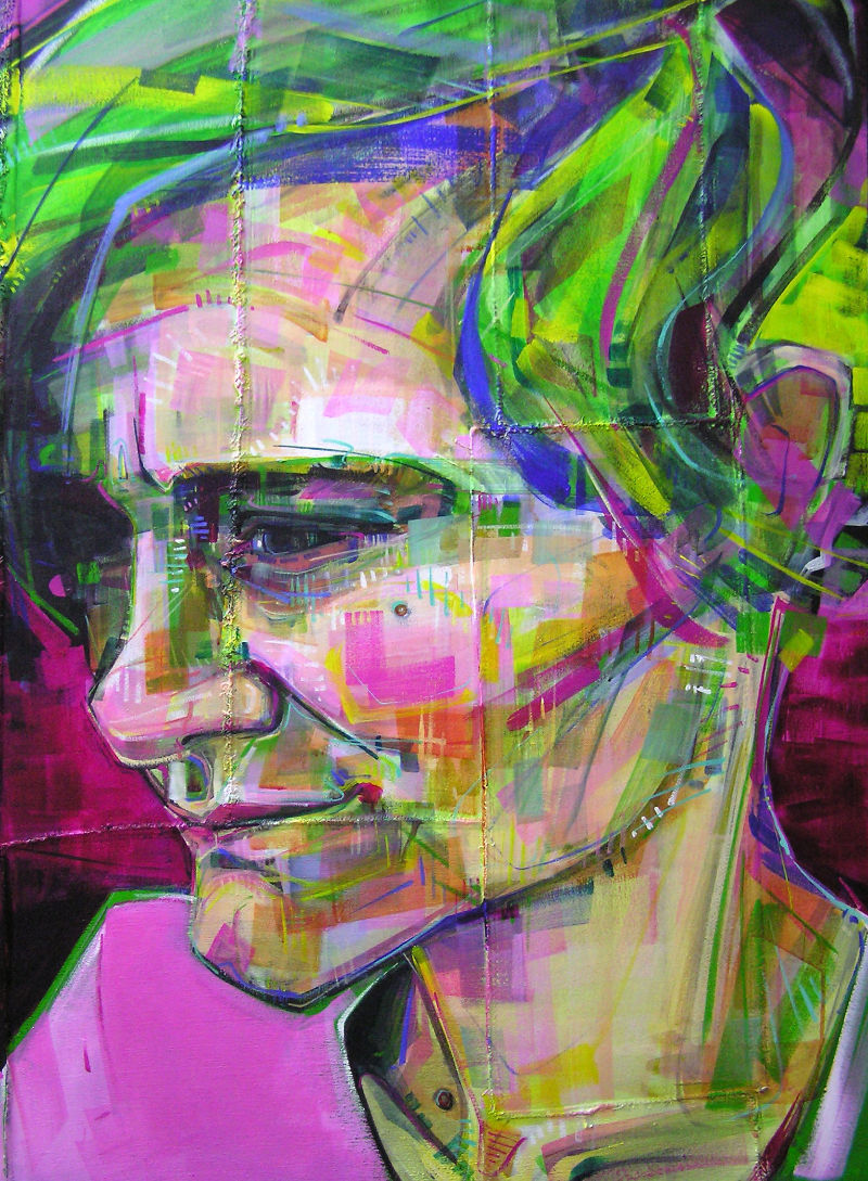 painted portrait in greens and pinks