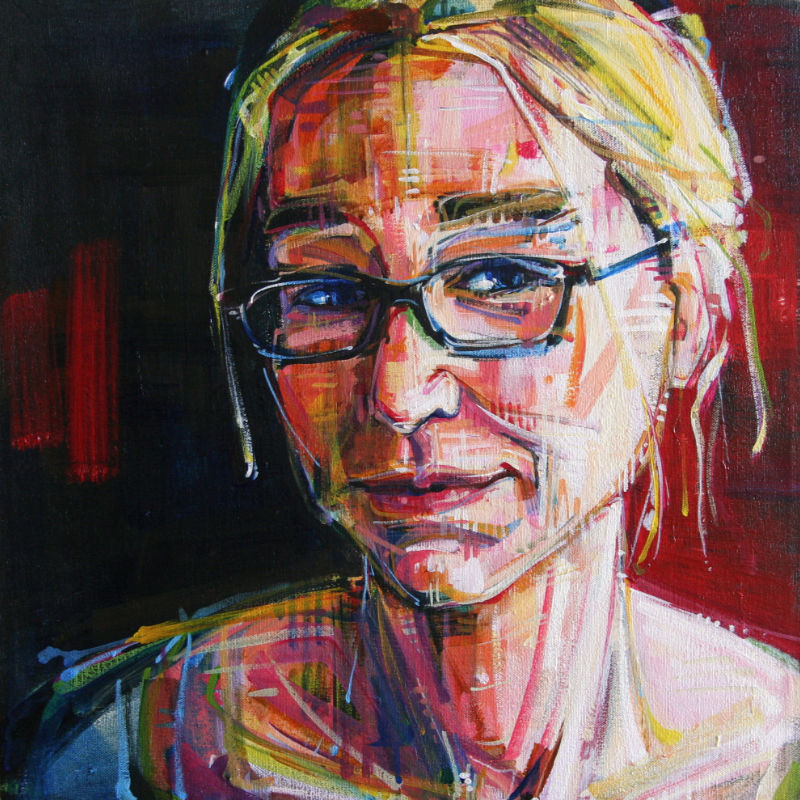 painted portrait of a young blond woman