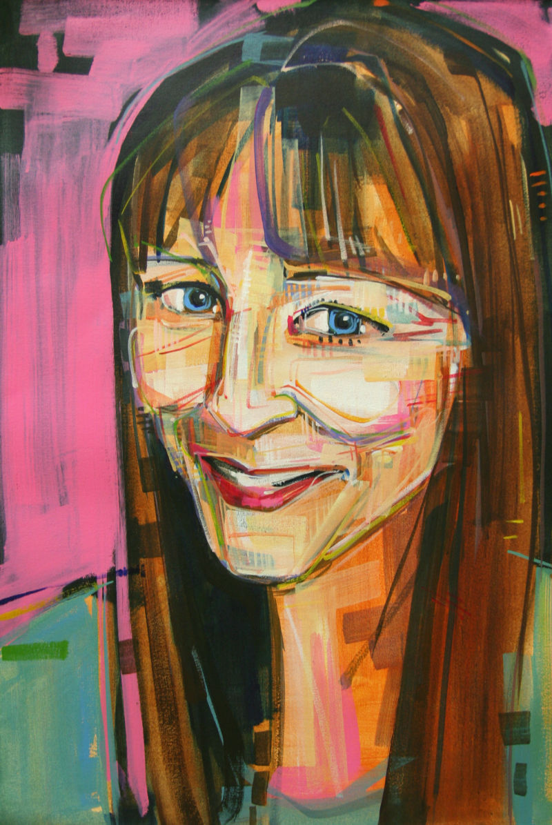 painted portrait of Angela Hollan
