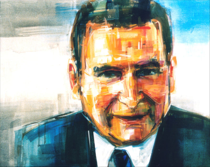 painted portrait of Eli Stutsman, lead author of the Death with Dignity Act
