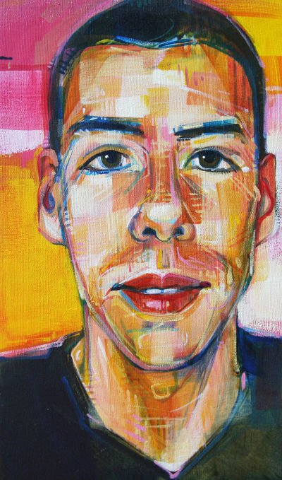 painting of a young man, portrait by Gwenn Seemel