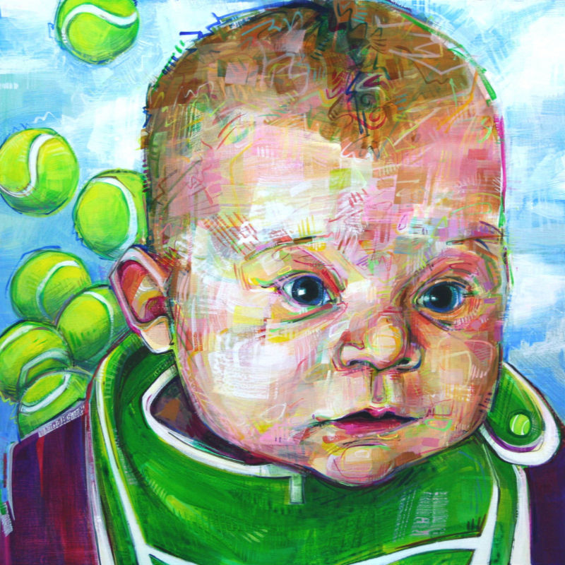 painted portrait of baby girl with tennis balls in the background