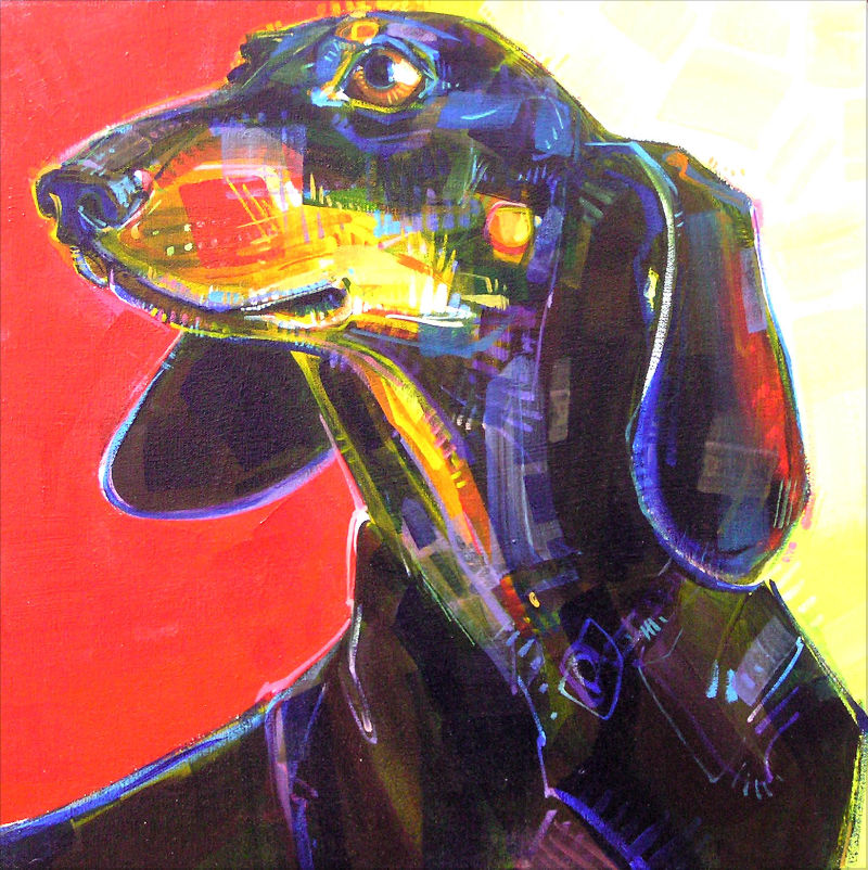 painted portrait of dachshund dog