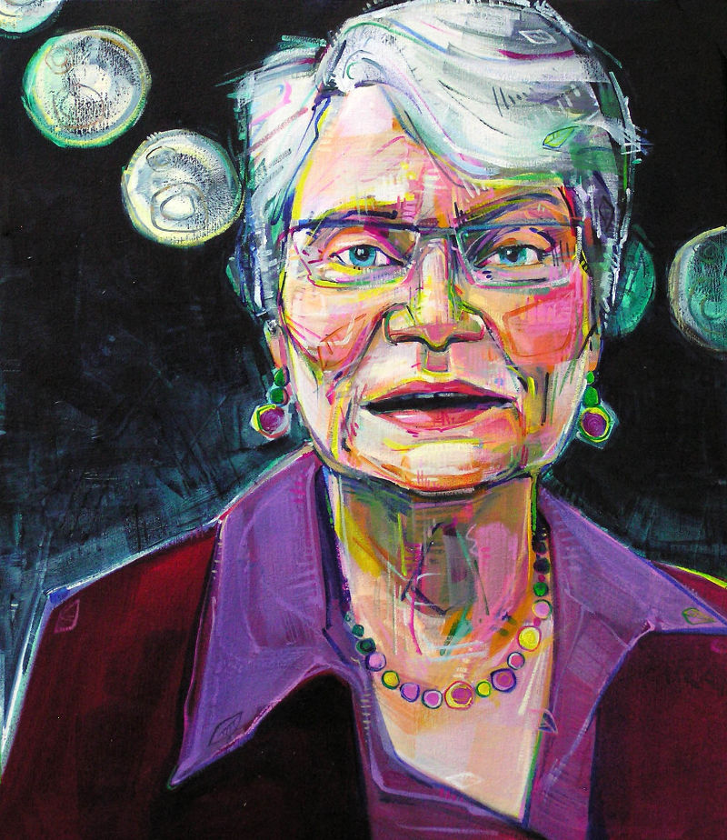 painted portrait of the art therapist Frances Kaplan with the moon in the background