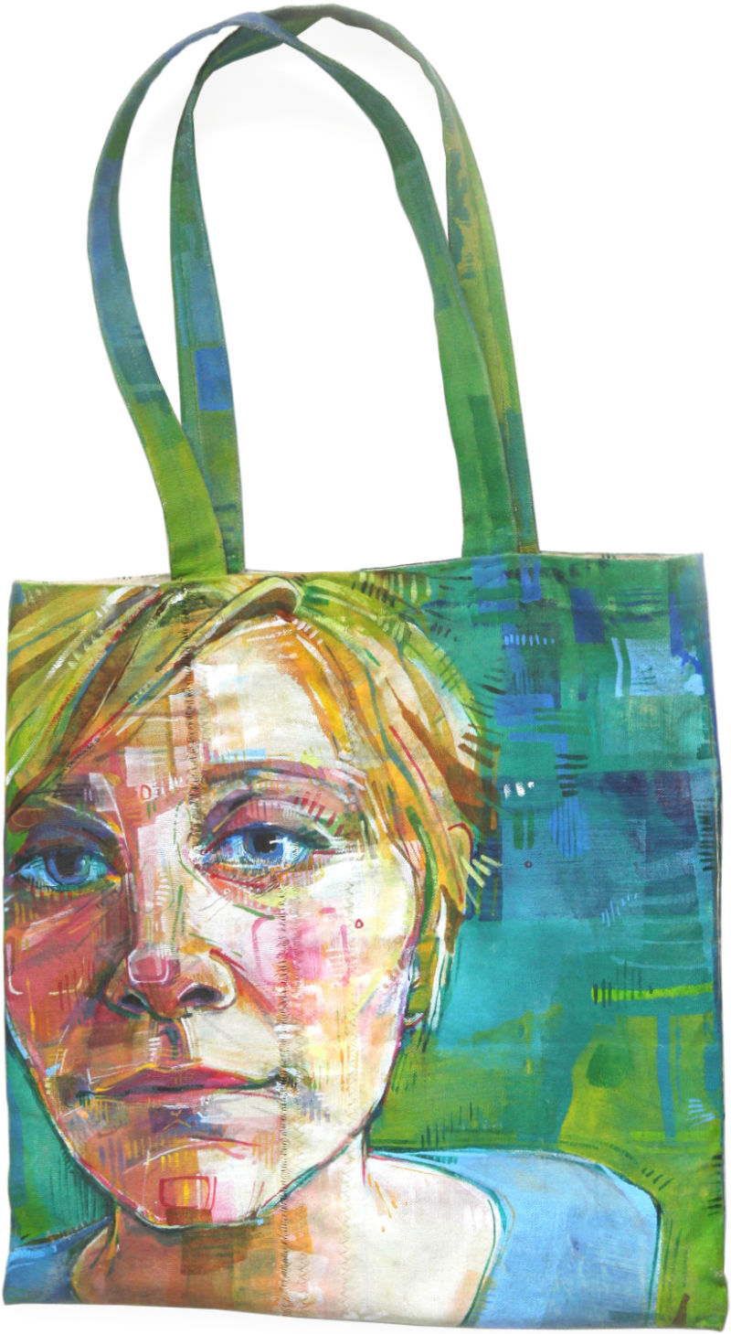 painted portrait of an artist on a canvas patchwork bag