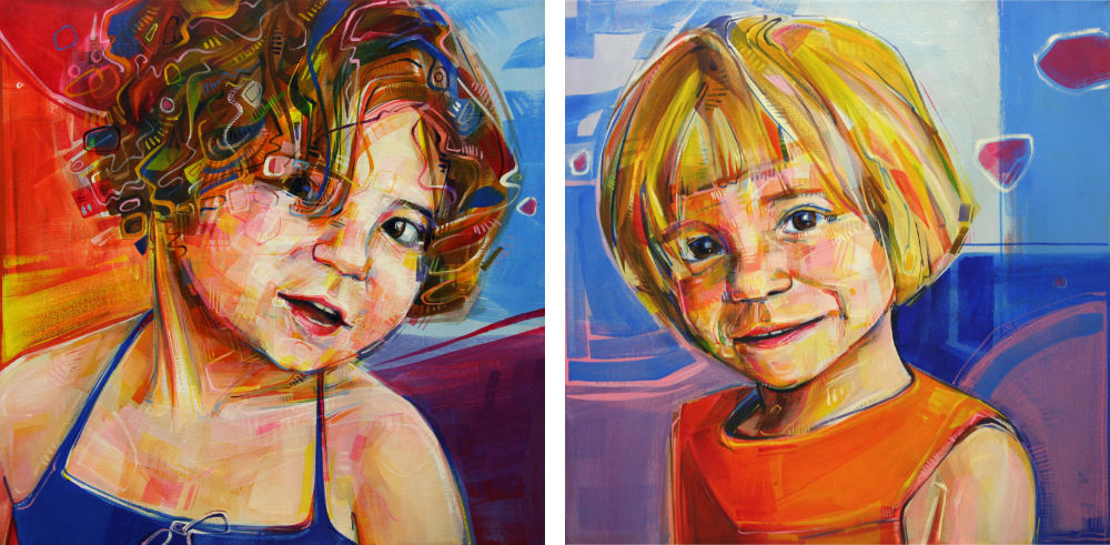 commissioned portraits of two little girls, sisters
