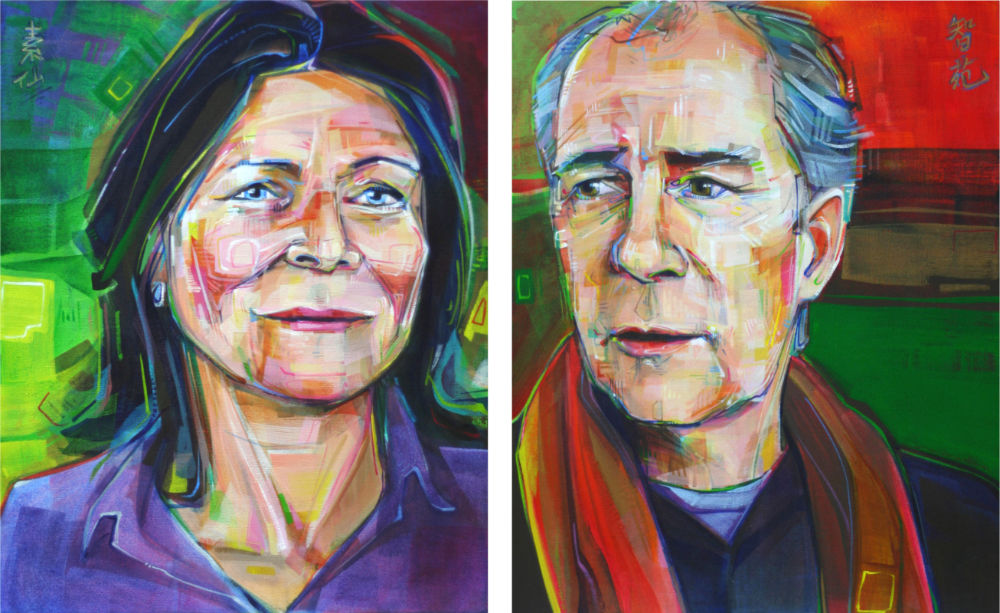 commissioned double portrait of a woman and a man