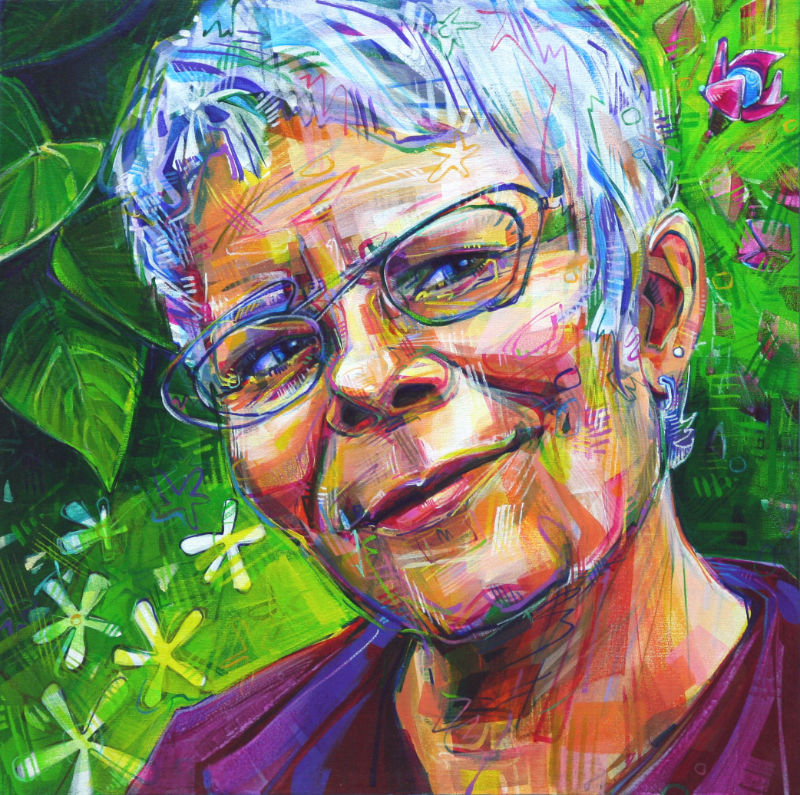 painted portrait of a woman with fantastic glasses and flowers in the background