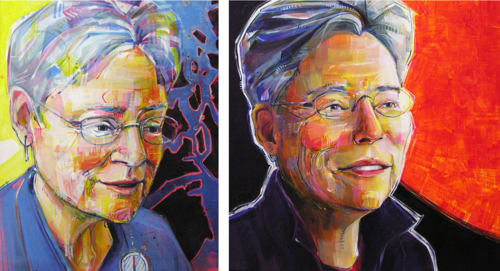 before and after portraits of woman going through menopause