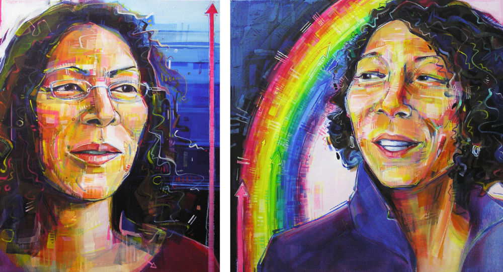 before and after portraits of transgender woman
