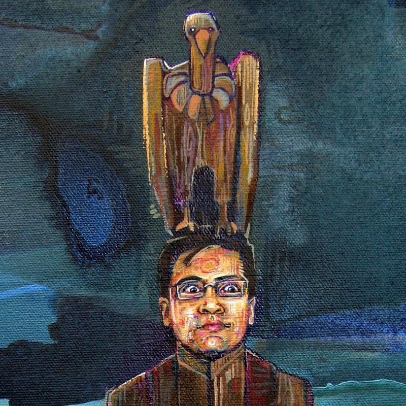 Indian-American man as a totem pole with Indian imagery