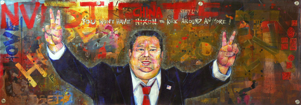 Taiwanese-American Nixon, painting in acrylic on canvas