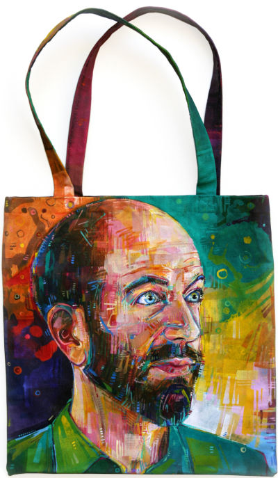 handsome bearded man painted on a canvas bag