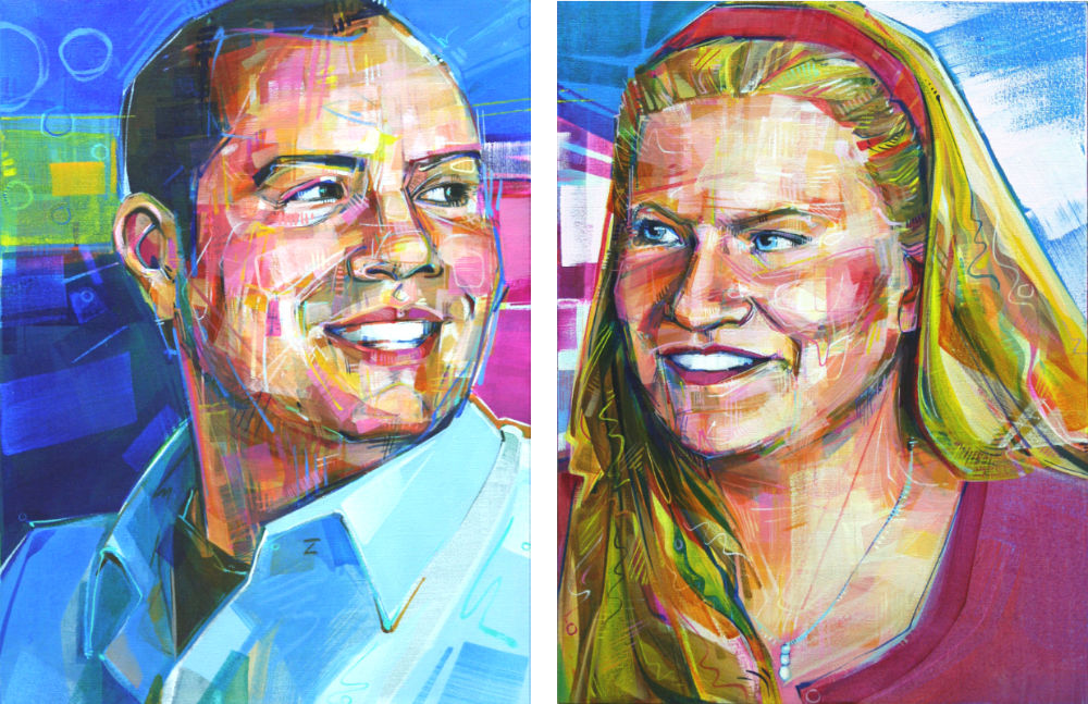 painted portraits of a young couple