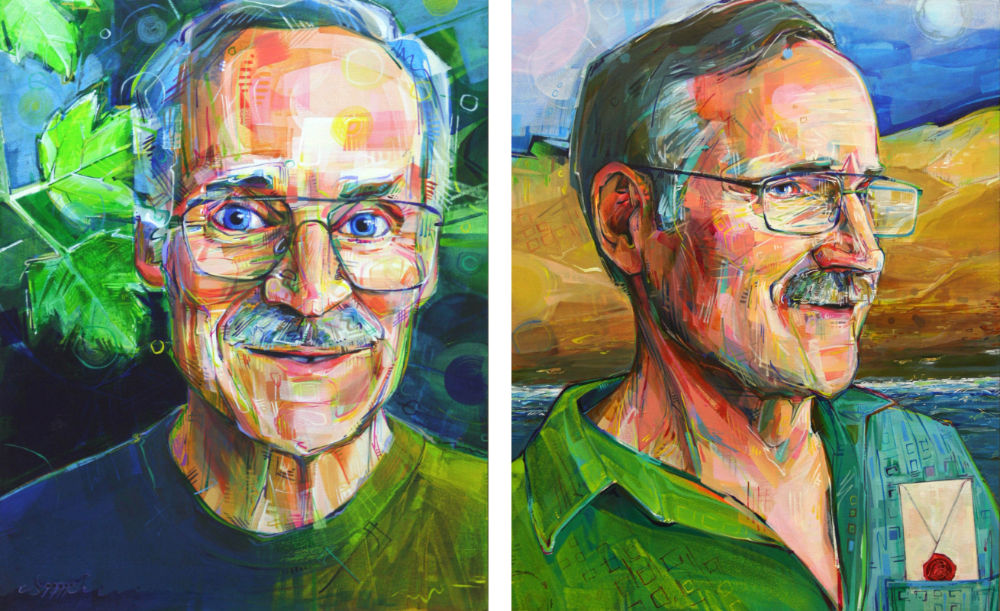 acrylic painted portraits of the same man, before and after a heart transplant