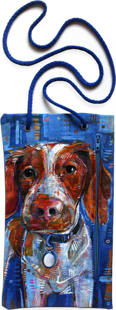 Brittany spaniel painted on a canvas pouch
