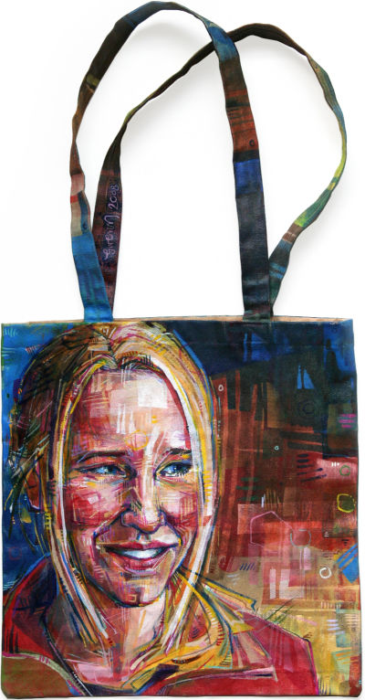 fine art portrait painted directly on a canvas tote