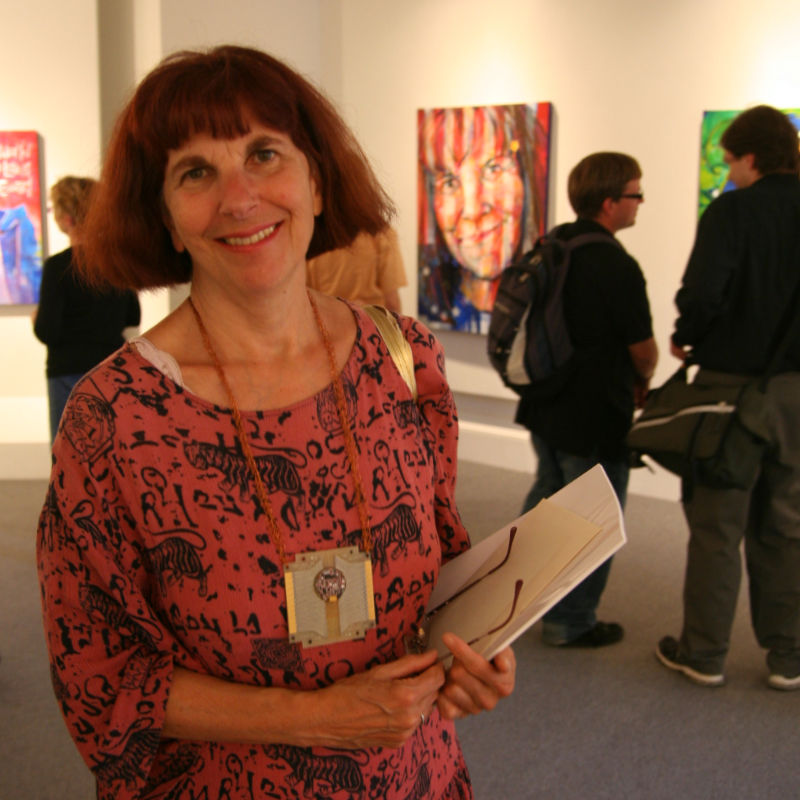 Portland artist Bonnie Meltzer at Gwenn Seemel's exhibit at the Interstate Firehous Cultural Center