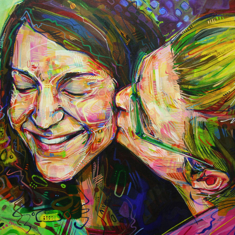 painted portrait of two women kissing