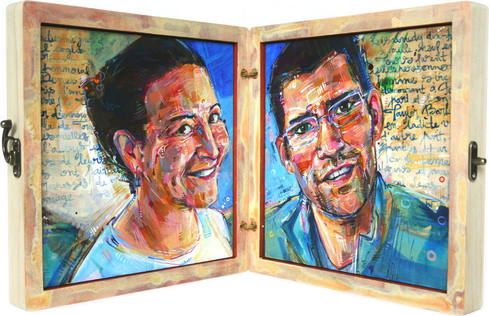 painted portrait of a couple, set in a simple wooden box