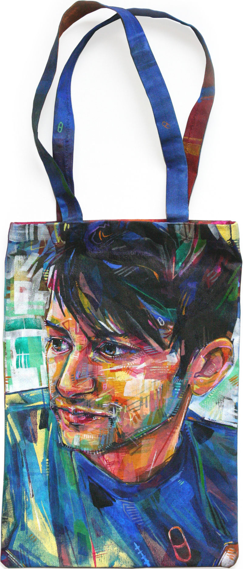 painted portrait bag of Jesse Morgan Young