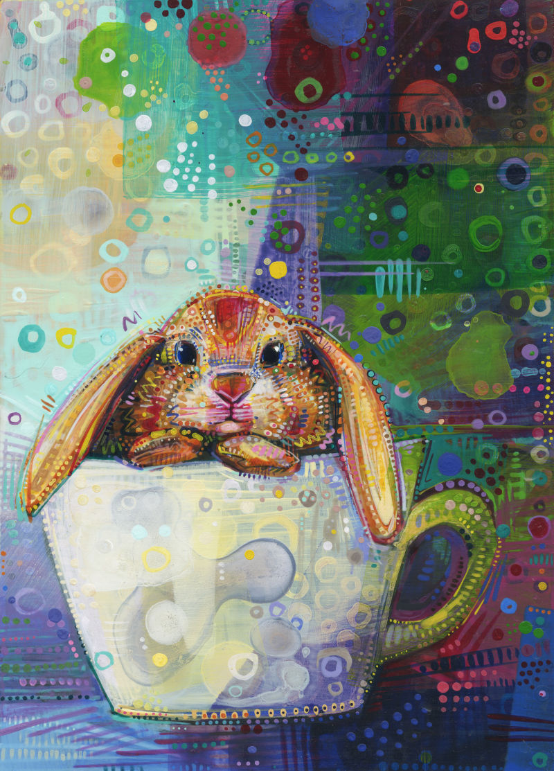 bunny in a teacup acrylic painting