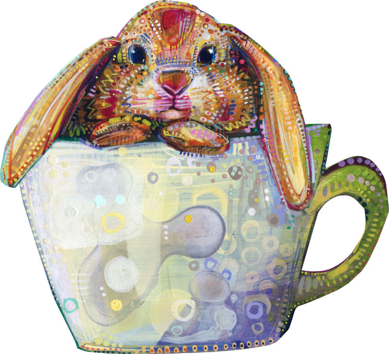 bunny in a teacup illustration