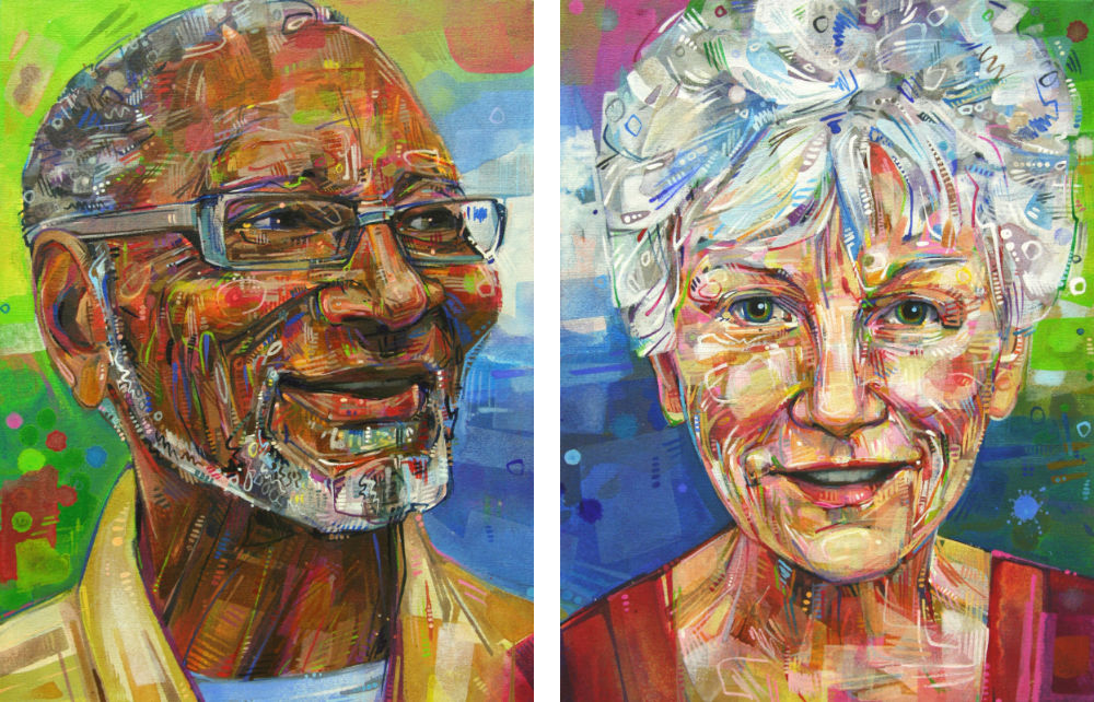 portraits painted to match each other and hang nicely together