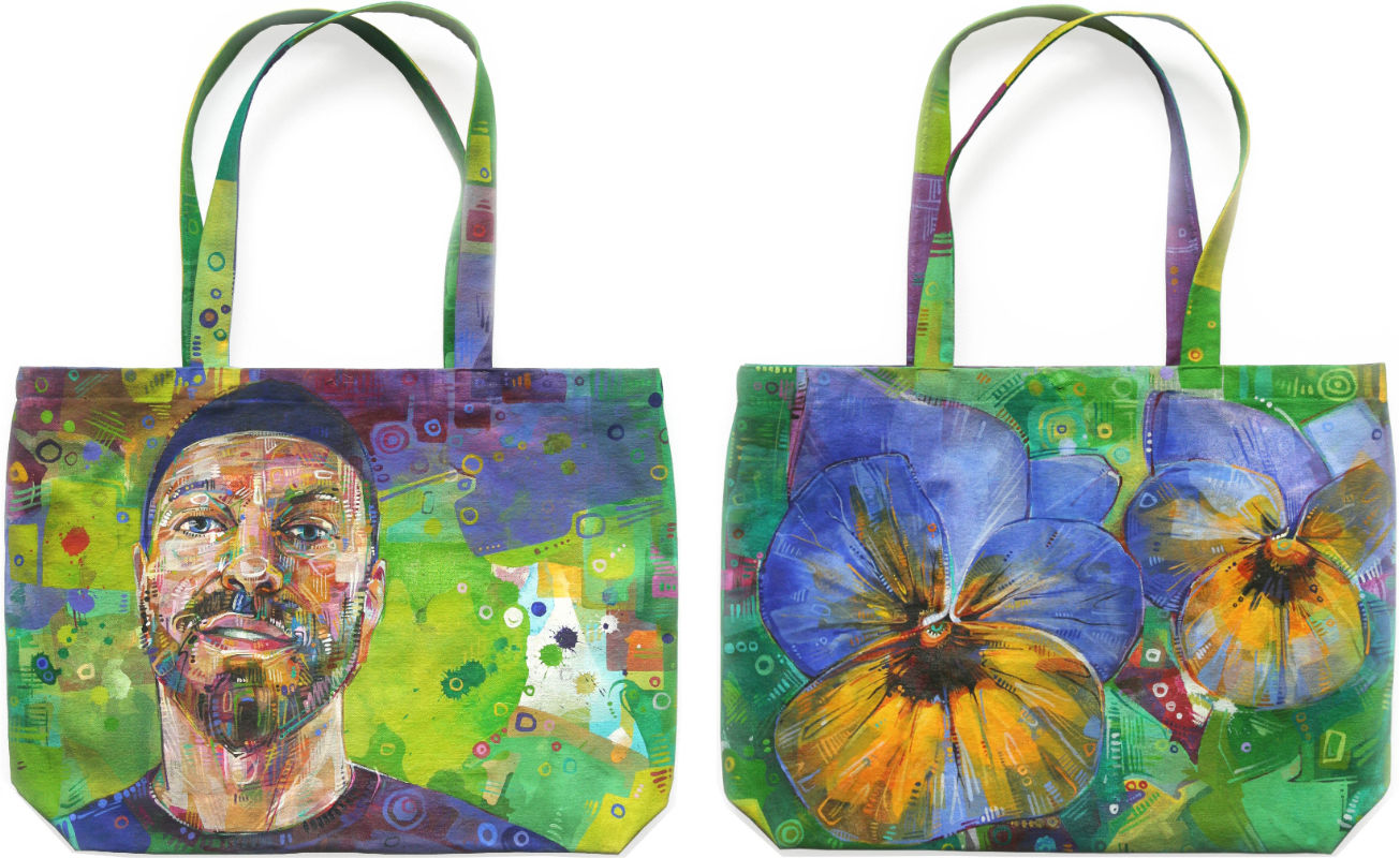 art bag, portrait of a handsome man and some pansies