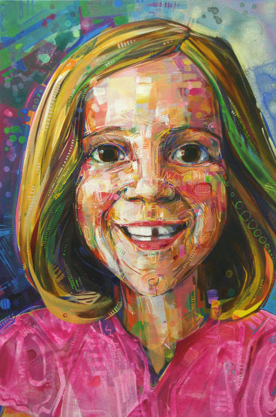 portrait of a little girl with a missing tooth, artwork by Gwenn Seemel