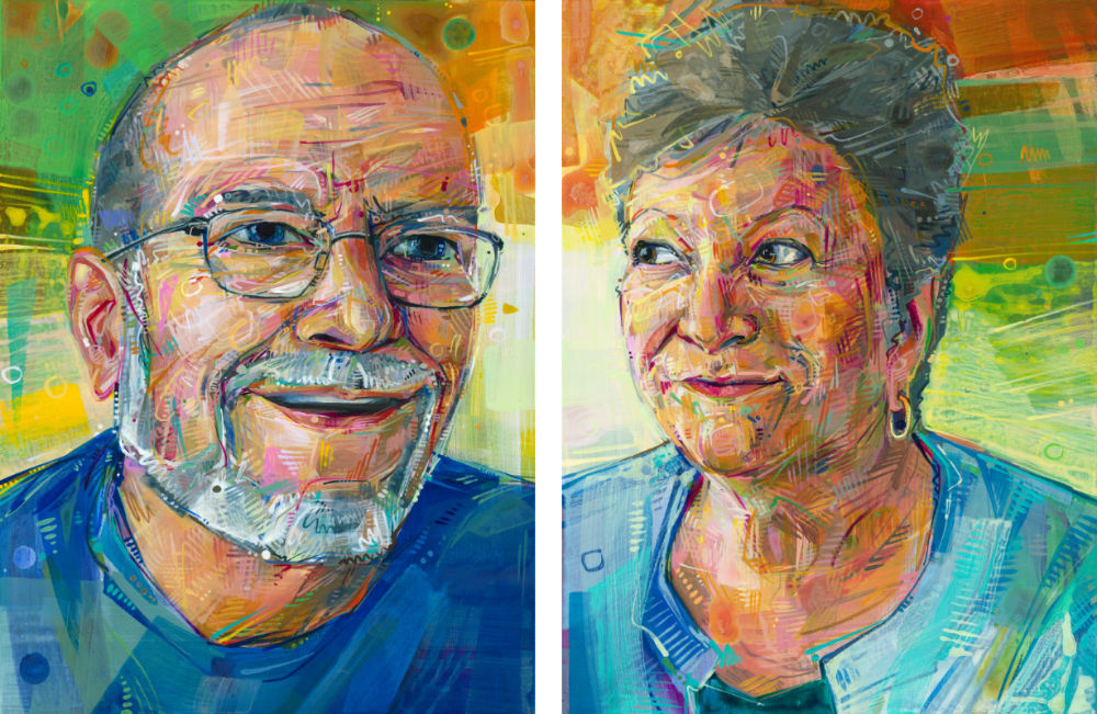 painted portraits of grandparents