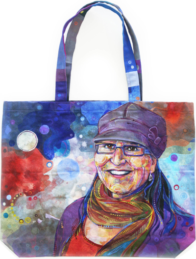 portrait of a woman on a canvas tote