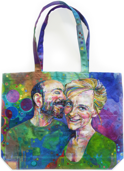 David Vanadia and Gwenn Seemel painted on a canvas tote