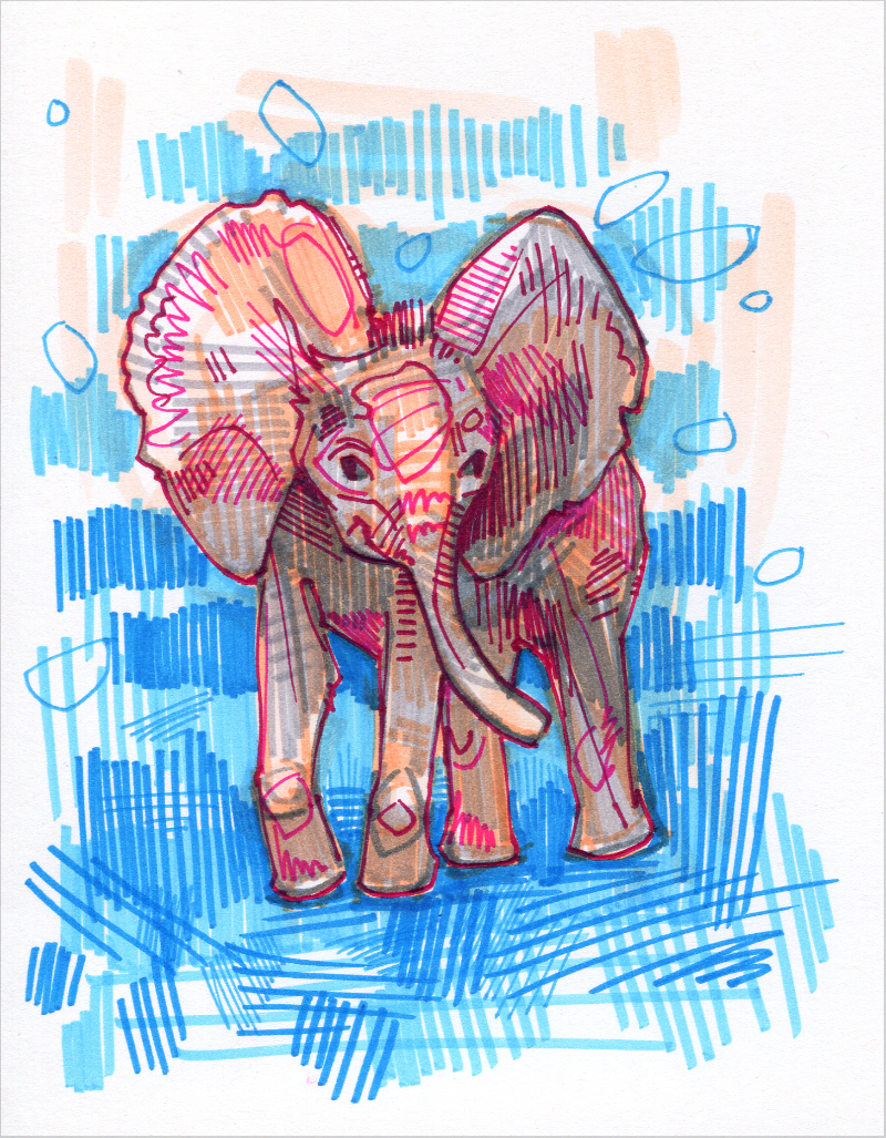 baby elephant colorful drawing