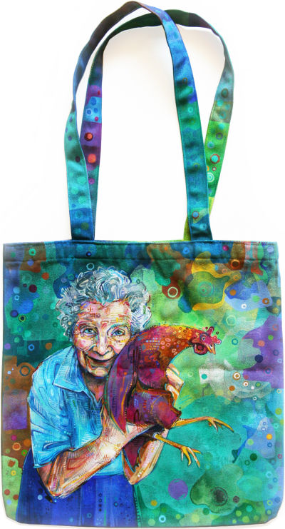 old woman with her chicken painted on a canvas bag