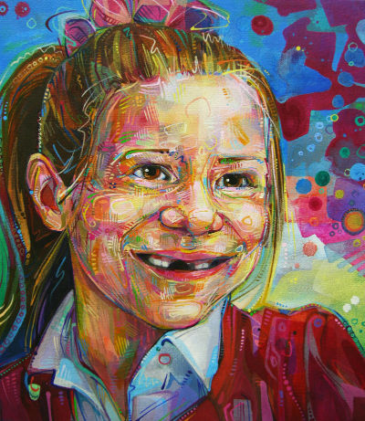 painted portrait of a little girl who is missing teeth
