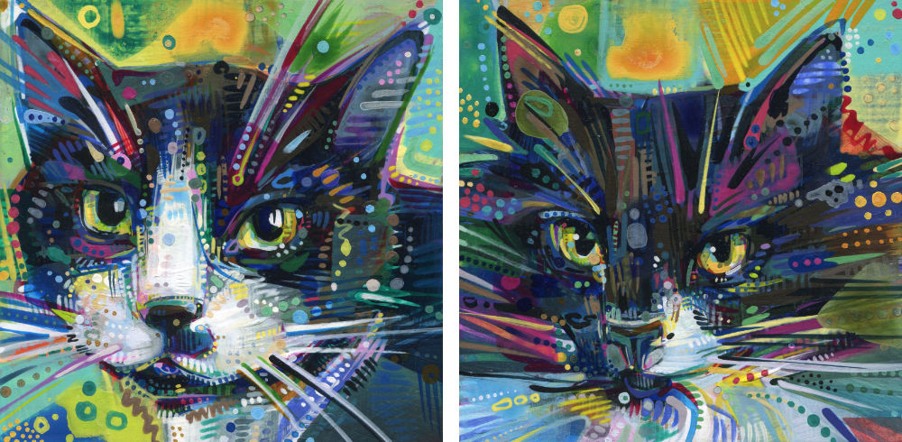 painted portraits of two sweet cats