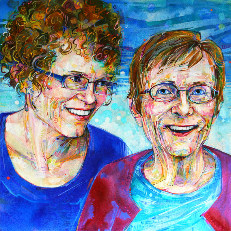 painted portrait of a daughter and her aging mother