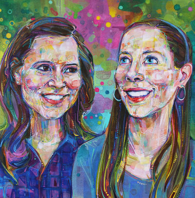 double portrait of sisters