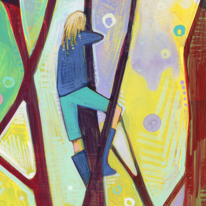 girl in a tree, rainbow design