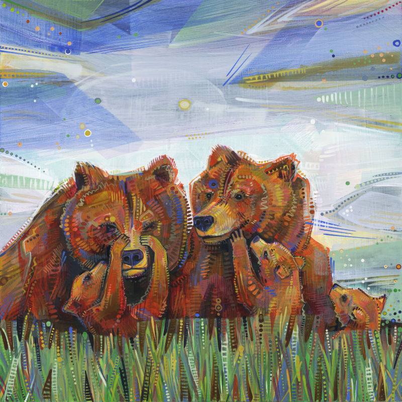 painting of grizzly bear moms with some babies