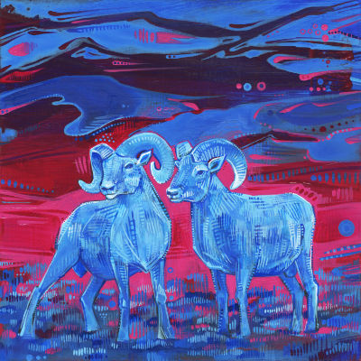 two male bighorn sheep painted in bright colors, buy art by independant artist Gwenn Seemel