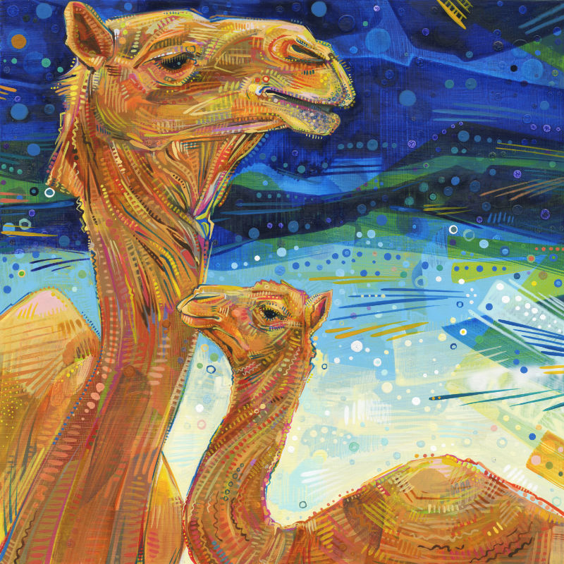 painting of a dromedary and her baby