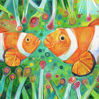 two clownfish in an anemone, art for sale
